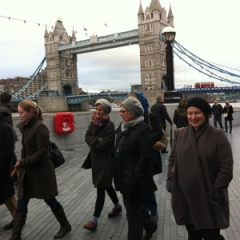 Linda walking with her colleagues from Context Travel in London. She's the person in the gray hat to the right.