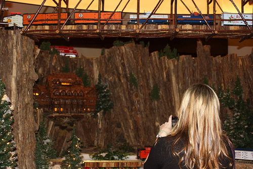Jamie checking out Jingle Rails at the Eiteljorg Museum of American Indians and Western Art in Indianapolis in 2011